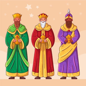 Mão desenhada reyes magos dia