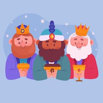 Mão desenhada reyes magos