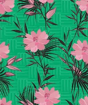 Mão desenhada rosa flores silvestres e folhas no padrão sem emenda de textura de linha geométrica