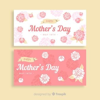 Mão desenhada rosas dia das mães banner