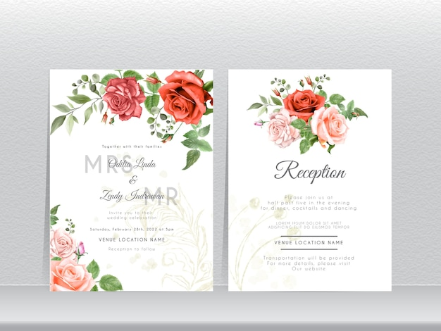 Mão desenhada rosas vermelhas e rosa conjunto de cartão de convite de casamento