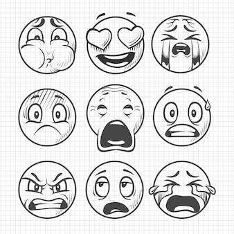Mão desenhada rostos tristes insatisfeitos, sorrisos conjunto de vetores