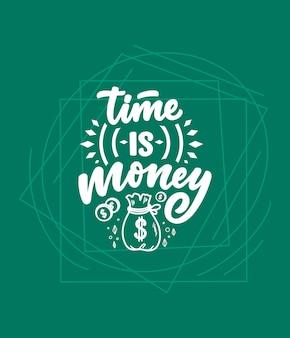 Mão desenhada rotulação citação no estilo de caligrafia moderna sobre dinheiro.