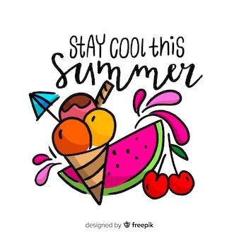 Mão desenhada rotulação de verão com melancia