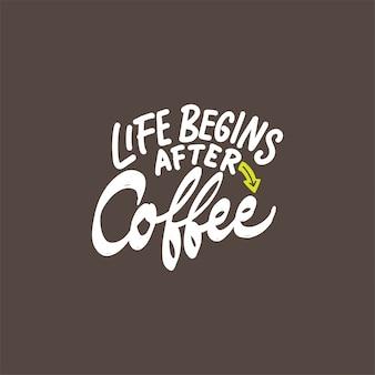 Mão desenhada rotulação design com citações de café