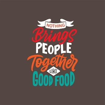 Mão desenhada rotulação design com citações de comida