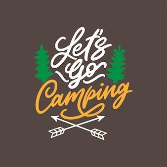 Mão desenhada rotulação design para camping quotes