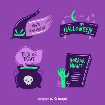 Mão desenhada rótulo de halloween e coleção de crachá