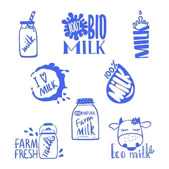 Mão desenhada rótulos de leite