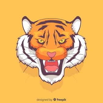 Mão desenhada rugindo fundo de tigre
