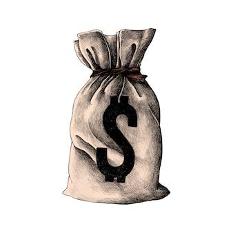 Mão desenhada saco de dinheiro antigo