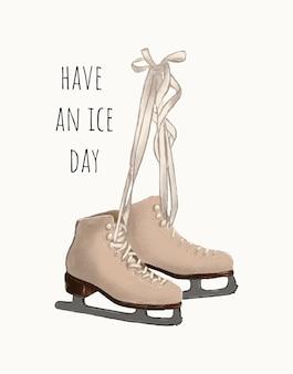 Mão desenhada sapatos de patins de gelo com modelo de fundo de citação