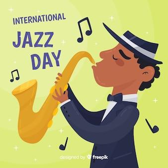 Mão desenhada saxofonista internacional jazz dia fundo