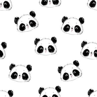 Mão desenhada sem costura de fundo com um panda fofo