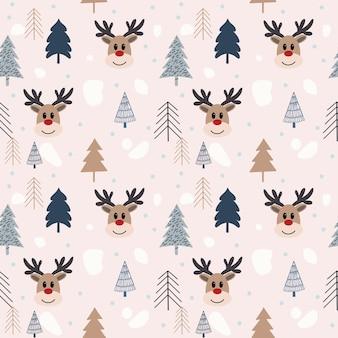 Mão desenhada sem costura padrão de natal com veados. usar como tecido, fundo de embrulho, cartão, etc.