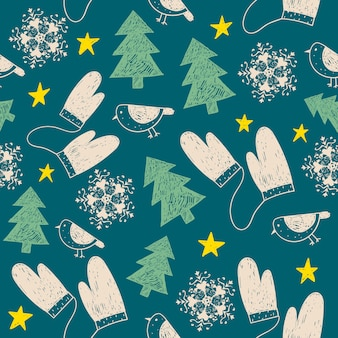 Mão desenhada sem costura padrão de natal. use como tecido, fundo de embrulho, cartão, etc.