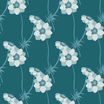 Mão desenhada sem costura padrão em tons pastel azuis com formas de flores de anêmona. bloom arte simples. ilustração das ações. desenho vetorial para têxteis, tecidos, papel de embrulho, papéis de parede.