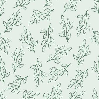Mão desenhada sem costura padrão floral de folha simples. estilo de linha de esboço do doodle.
