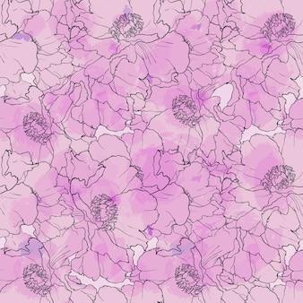 Mão desenhada sem costura padrão peônia flores