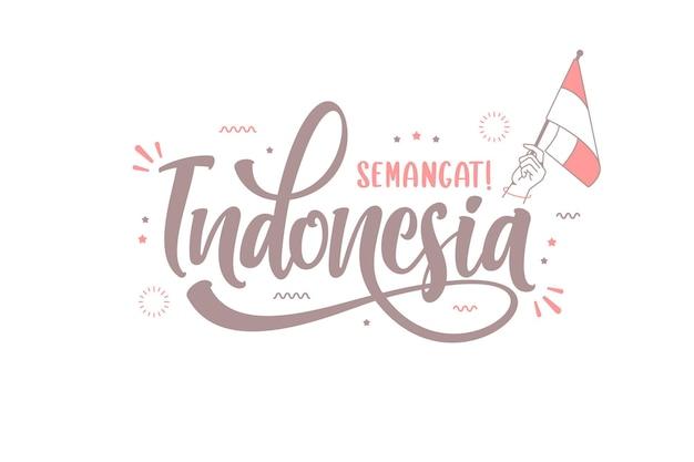 Mão desenhada semangat indonésia significa espírito indonésio lettering modelo de fundo