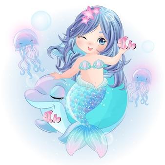 Mão desenhada sereia bonita com golfinho