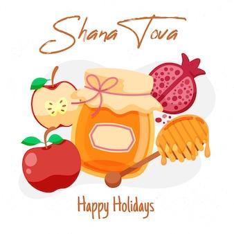 Mão desenhada shana tova com mel e maçãs