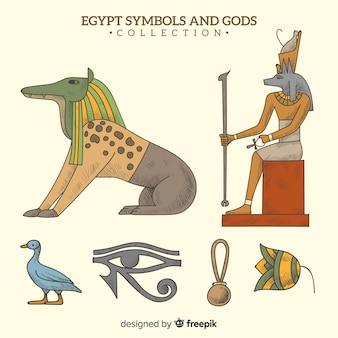 Mão desenhada símbolos egípcios e coleção de deuses