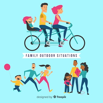 Mão desenhada situações familiares ao ar livre pacote