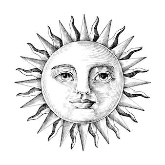 Mão desenhada sol com um rosto