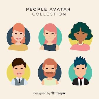 Mão desenhada sorridente coleção de avatar de pessoas