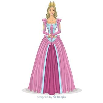 Mão desenhada sorridente princesa retrato