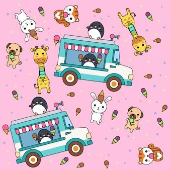 Mão desenhada sorvete bonito e padrão de animais