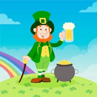 Mão desenhada st. dia de patrick com homem segurando cerveja e arco-íris