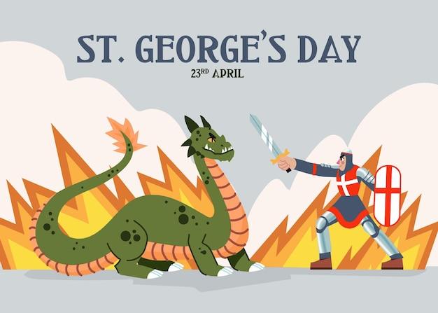 Mão desenhada st. ilustração do dia de george com cavaleiro e dragão