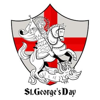 Mão desenhada st. ilustração do dia de george com cavaleiro