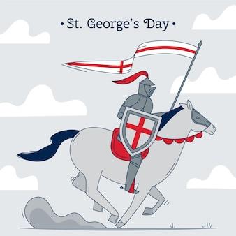 Mão desenhada st. ilustração do dia de george com o cavaleiro no cavalo segurando a bandeira e a lança
