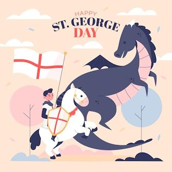 Mão desenhada st. ilustração do dia de george Vetor grátis