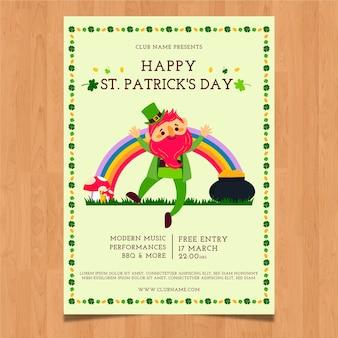 Mão desenhada st. modelo de cartaz do dia de patrick