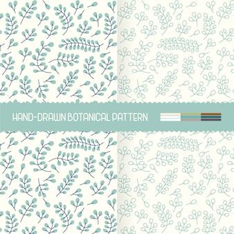 Mão desenhada sutis padrões botânicos florais