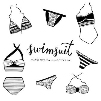 Mão desenhada swimsuit coleção