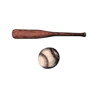 Mão desenhada taco de beisebol e bola