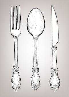 Mão desenhada talheres de prata vintage
