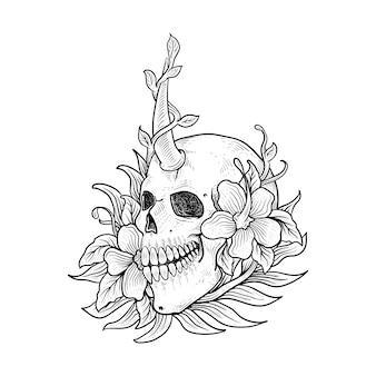 Mão desenhada tatuagem et camiseta design esqueleto e flor
