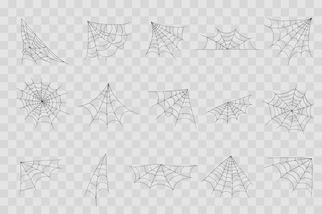 Mão desenhada teia de aranha linha arte esboço estilo aranha elementos da teia assustador imagem assustador halloween