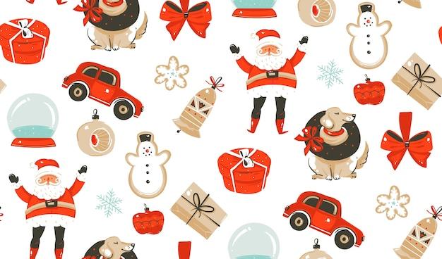 Mão desenhada, tempo de feliz natal, padrão sem emenda de elementos.
