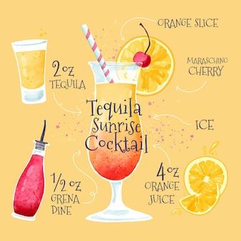 Mão desenhada tequila receita cocktail do nascer do sol