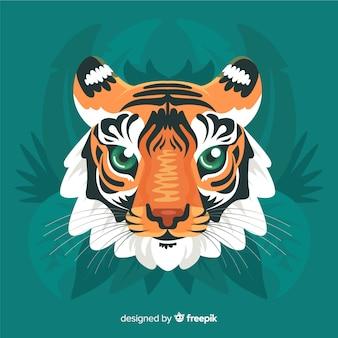 Mão desenhada tigre cabeça fundo