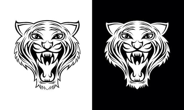 Mão desenhada tigre cara tatuagem desenho vetorial