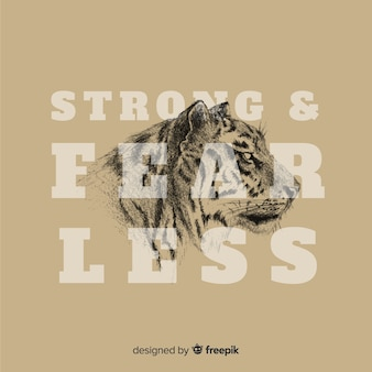 Mão desenhada tigre fundo com slogan
