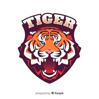 Mão desenhada tigre fundo do logotipo